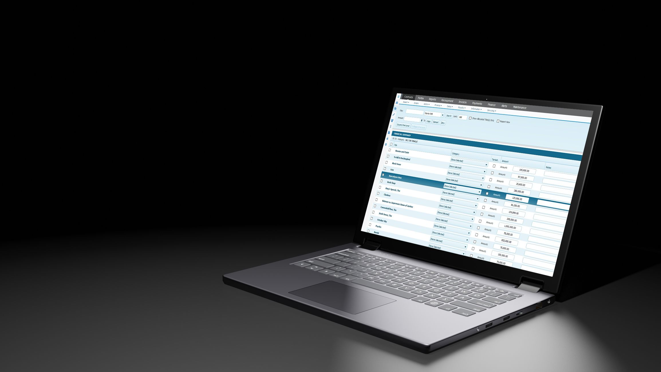 laptop with FilmTrack Financials Manager displayed on the screen