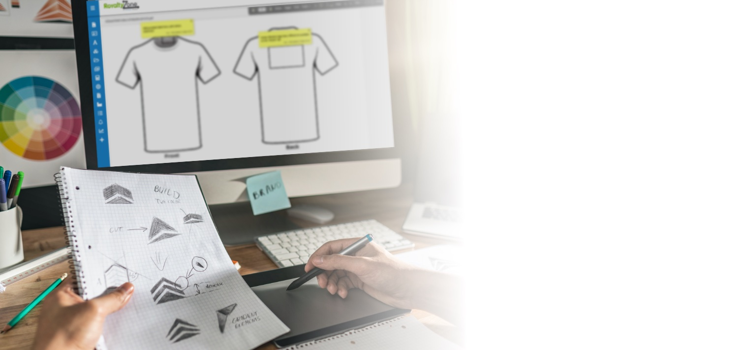 person designing t-shirt logo on computer
