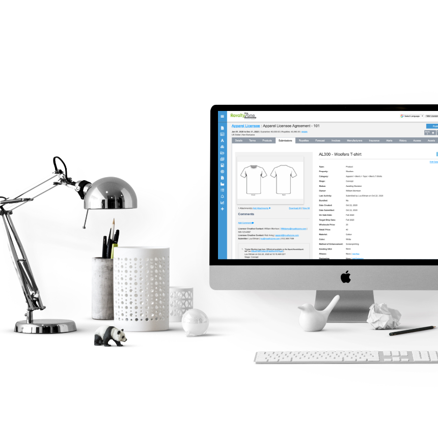 computer on desk displaying Brand Licensing Manager