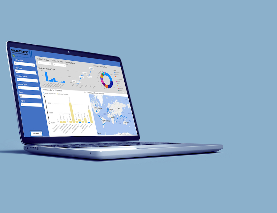 laptop displaying Business Intelligence Manager on blue background