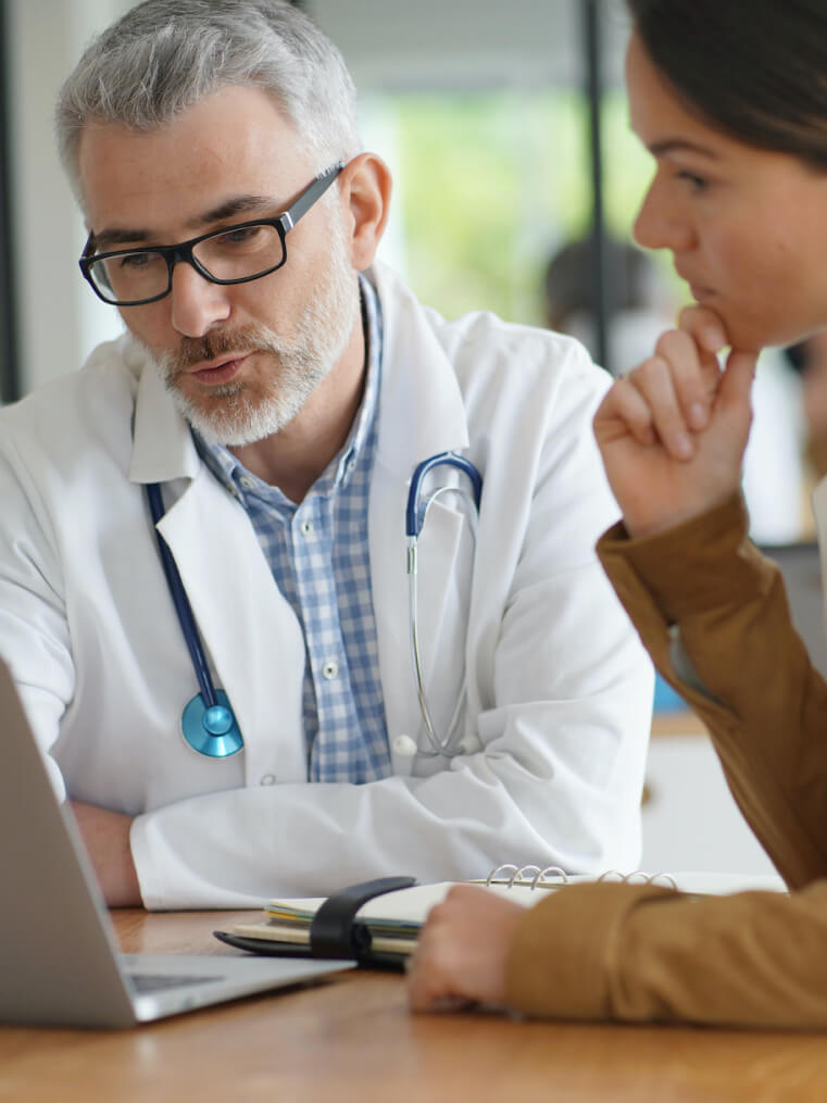 doctor reviewing with patient