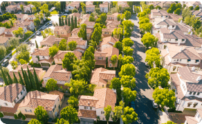Aerial view of a residential housing society