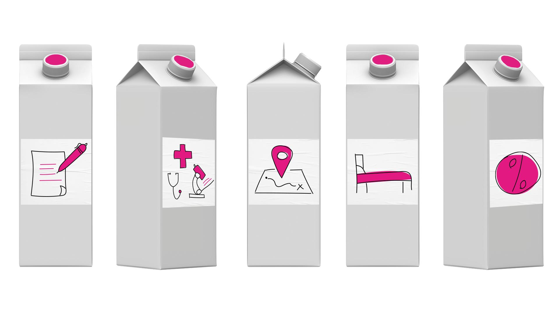 ilustrações de embalagem de leito com rótulos