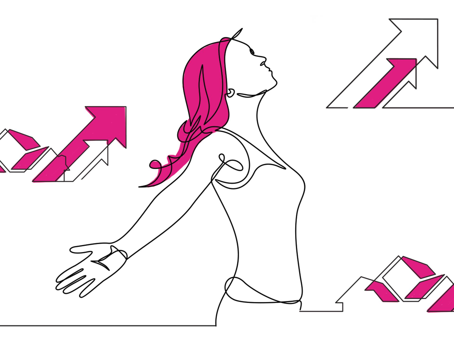 ilustração mulher olhando para cima com setas ao seu lado