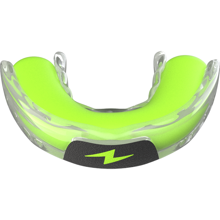 neon green putty log packed into zone mouthguard