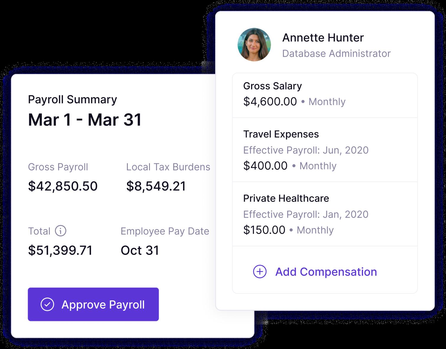 Panther's platform payroll screenshot