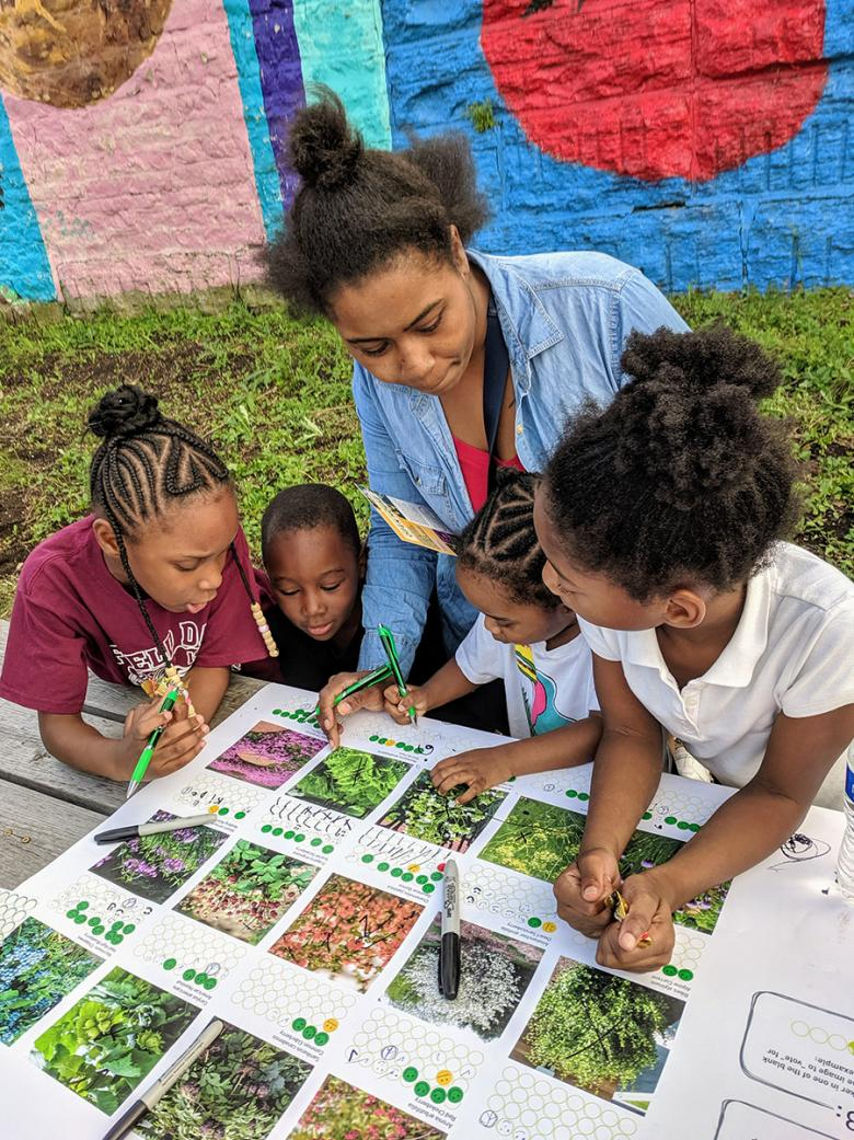 Site Design Group created a plant voting board to collect community feedback on the types of plants they would like to see growing in the bioswales.