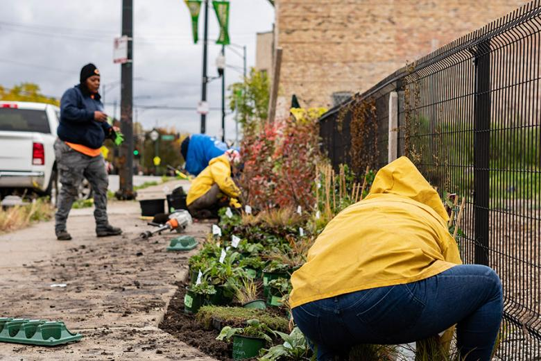 The bioswales at Farmworks were installed by Greencorps Chicago – again donating labor and providing their training cohort another opportunity to install green stormwater infrastructure.
