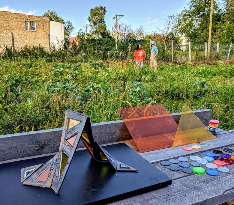 Artist Andrea Jablonski created a model of the shade sculpture and, at our fall open house, invited residents to vote on their favorite color panels.