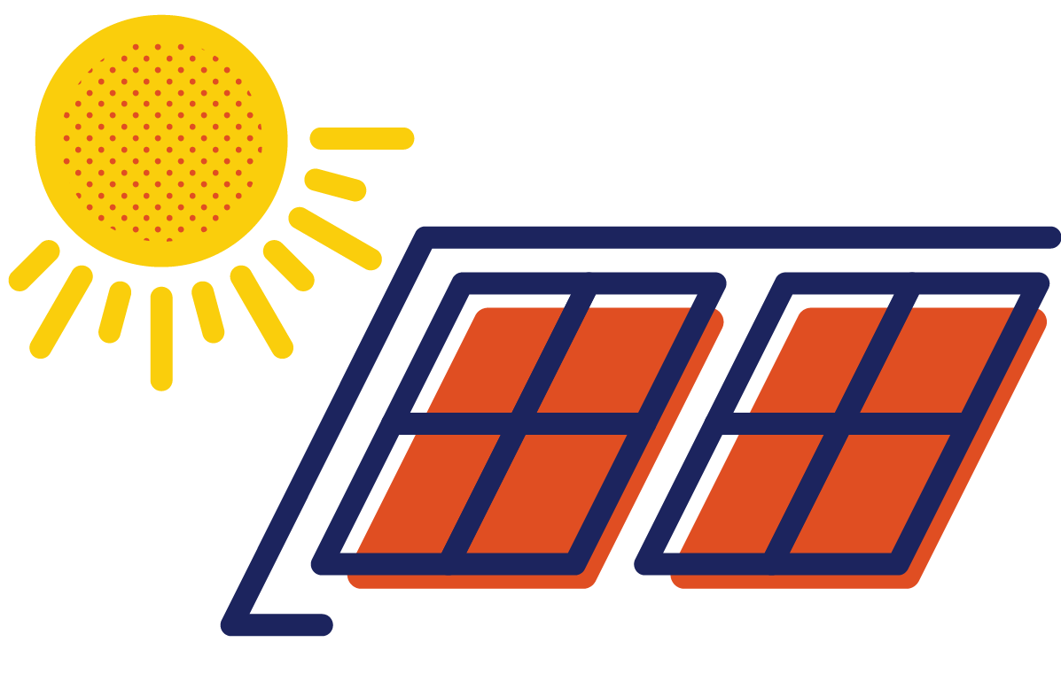 Drawing of sun shining on solar panels on a roof