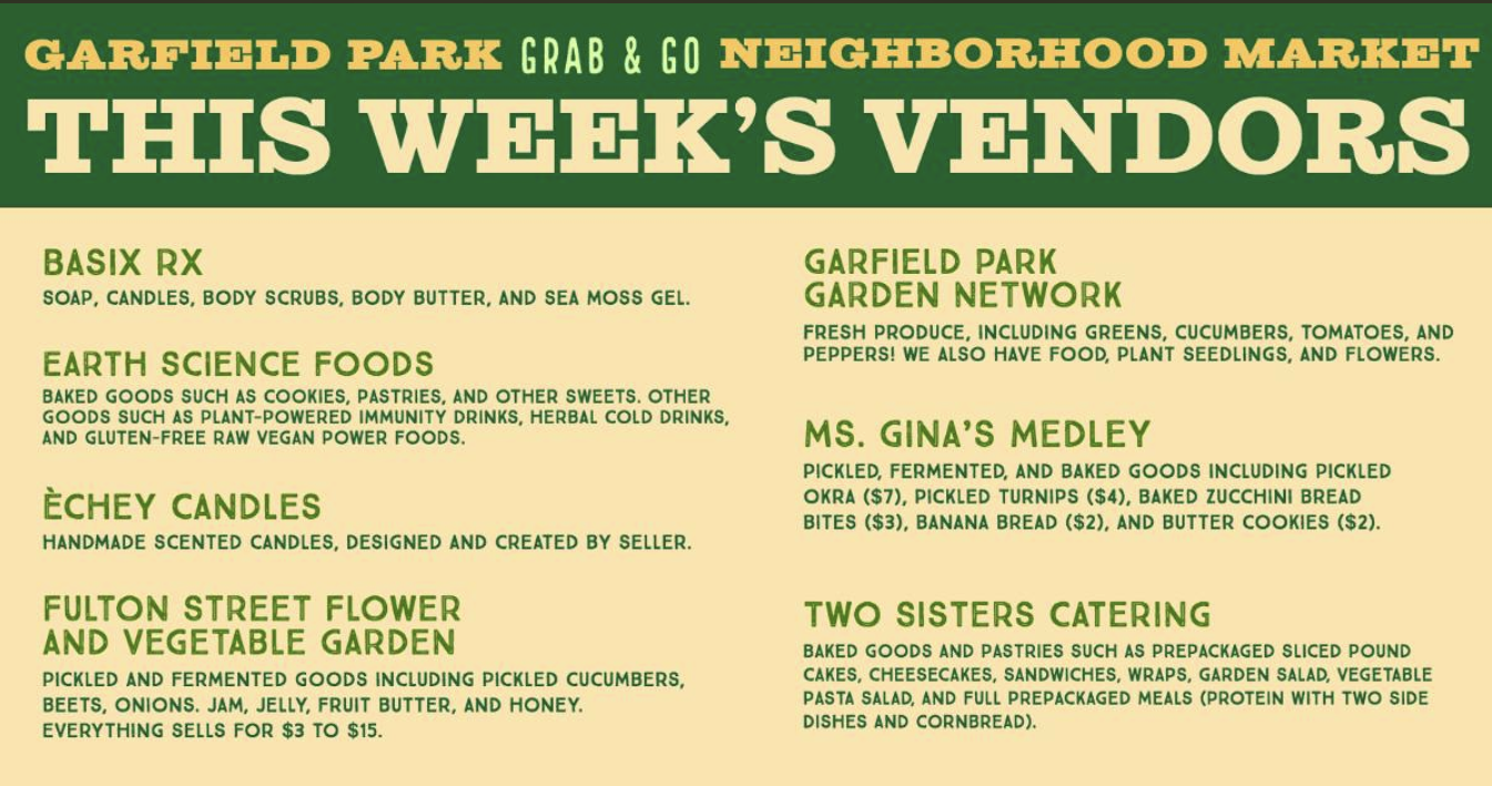 The Garfield Community Council shares a flier on Facebook listing The Garfield Neighborhood Market's vendors for opening day. Photo courtesy the Garfield Community Council.
