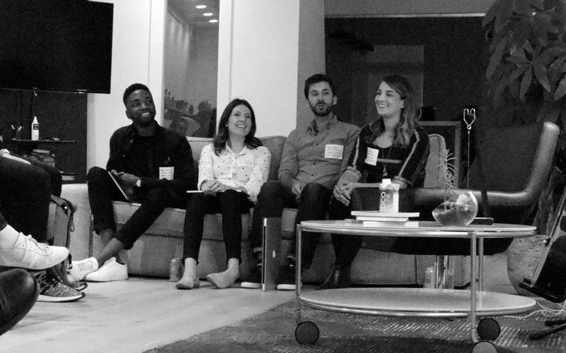 Design Systems Meetup Panel: Jared Erondu, Amy Devereux, Aaron Bailey, and Abstract's Heather Phillips