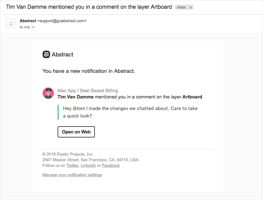 Abstract email notifications