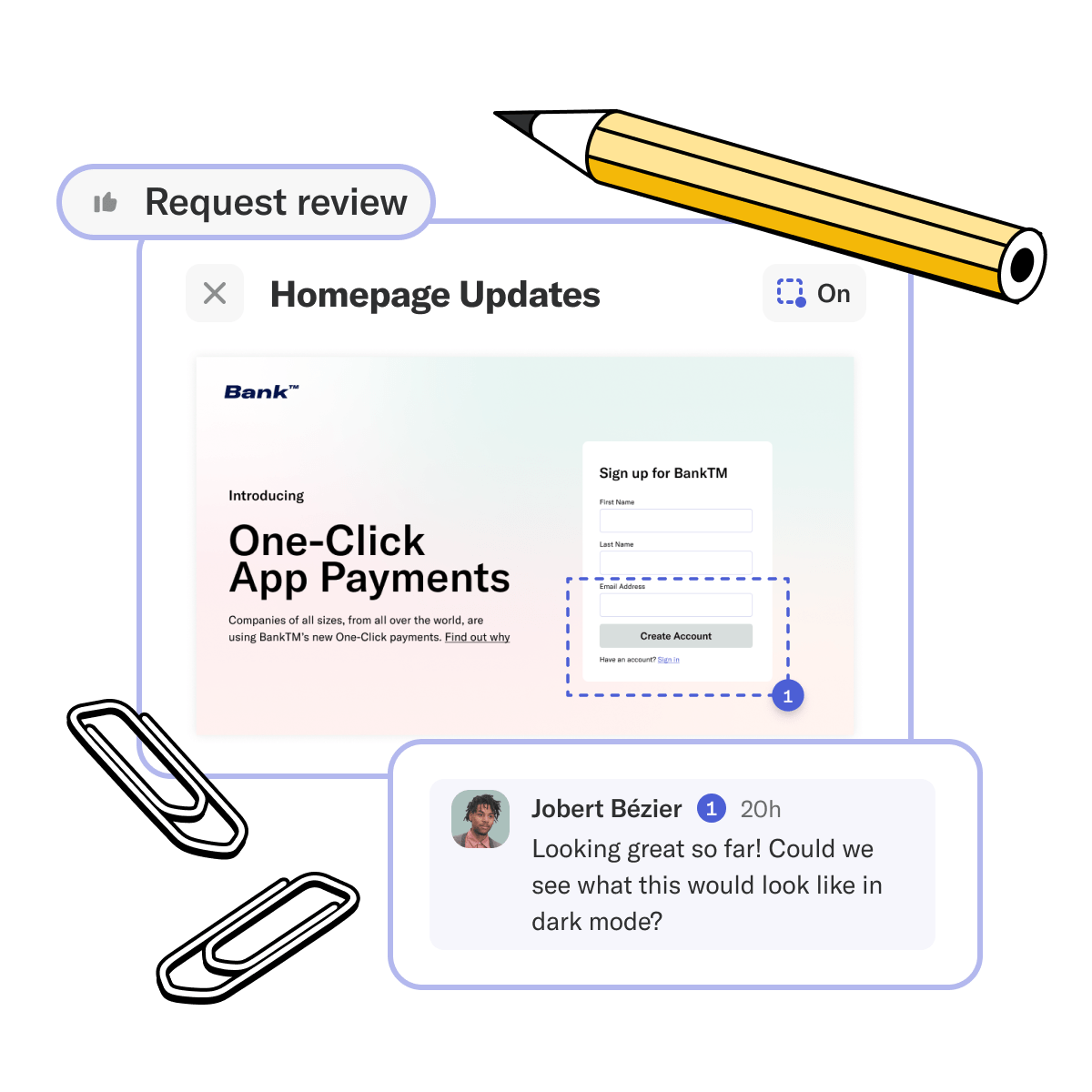Notebooks request review UI