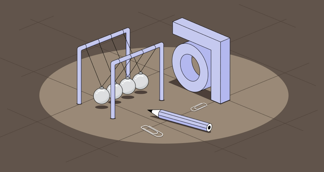 Illustration with abstract logo pencil and Newtons Cradle