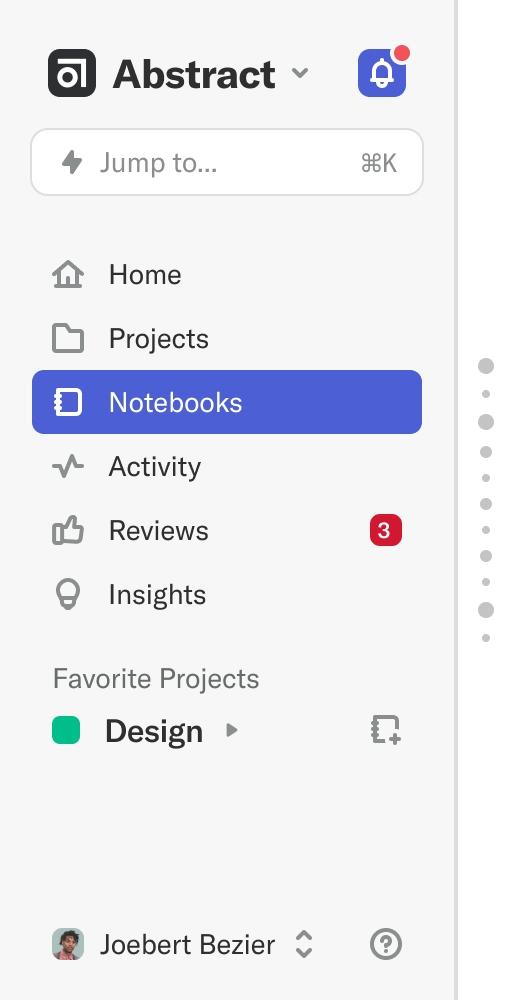 Notebooks navigation bar