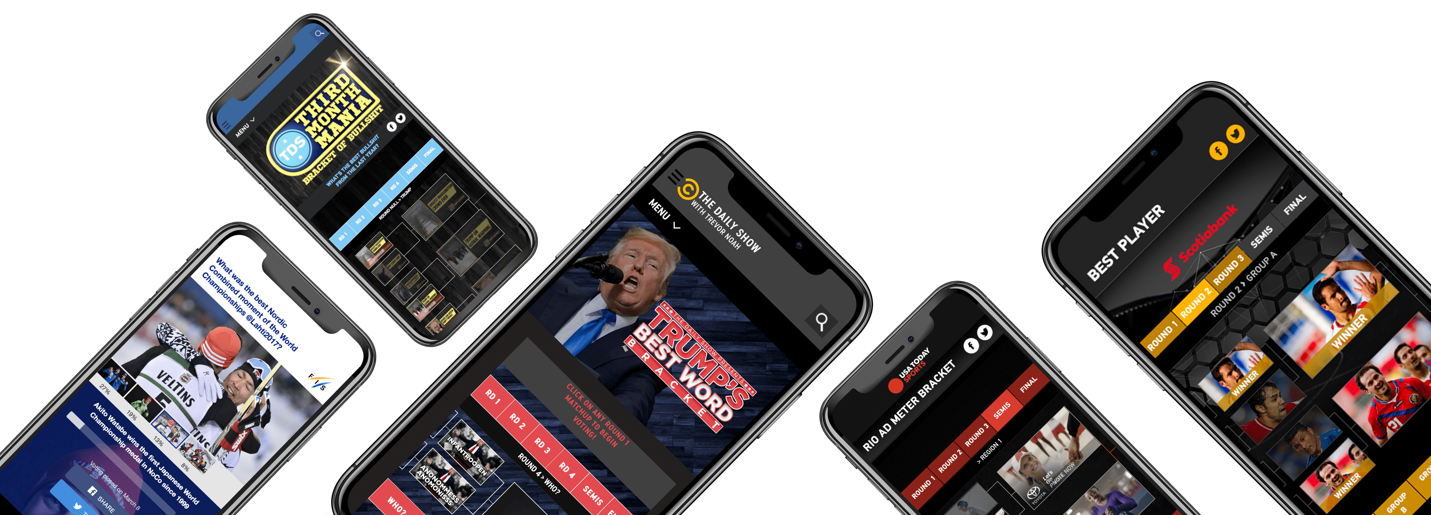 phones with examples of ix Vote, ix Poll and ix predict tools