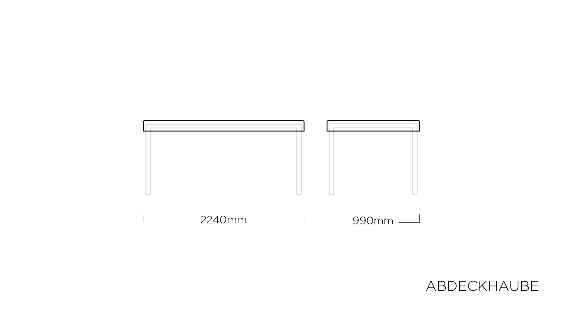 ABDECKHAUBEN für Tischplatte 220 x 95 cm