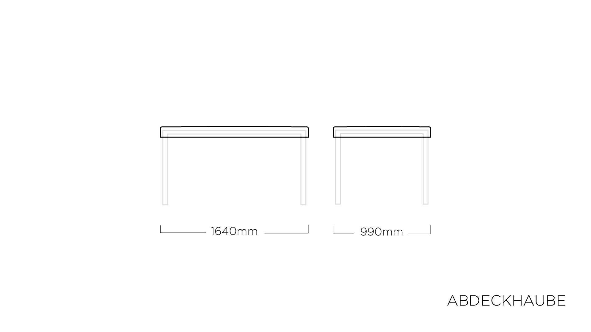 ABDECKHAUBEN für Tischplatte 160 x 95 cm