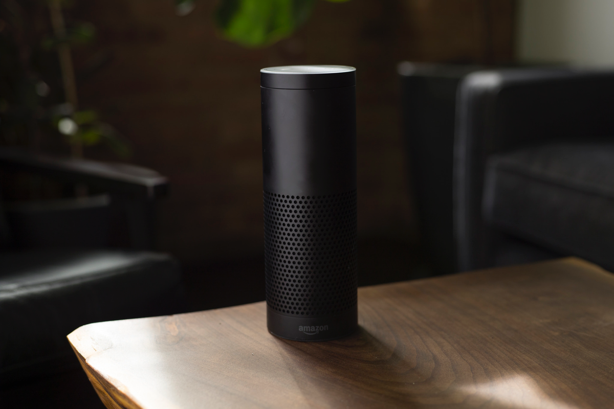 Amazon Alexa voice-activated speaker on a table