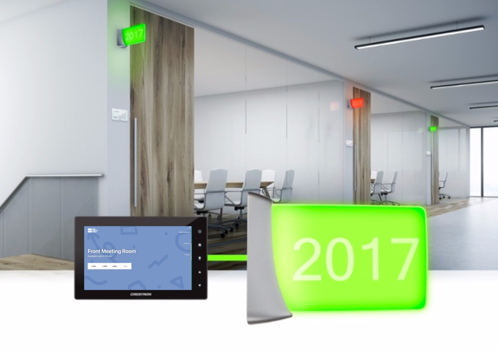 Crestron room display tablet and LED light