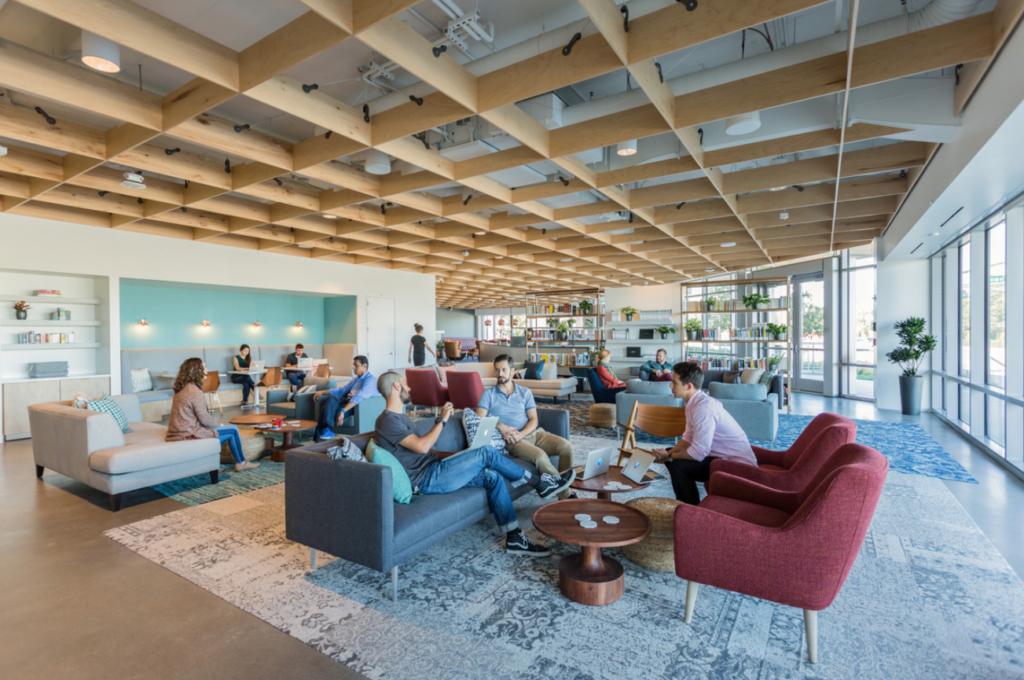 Medallia office lounge homey future of work