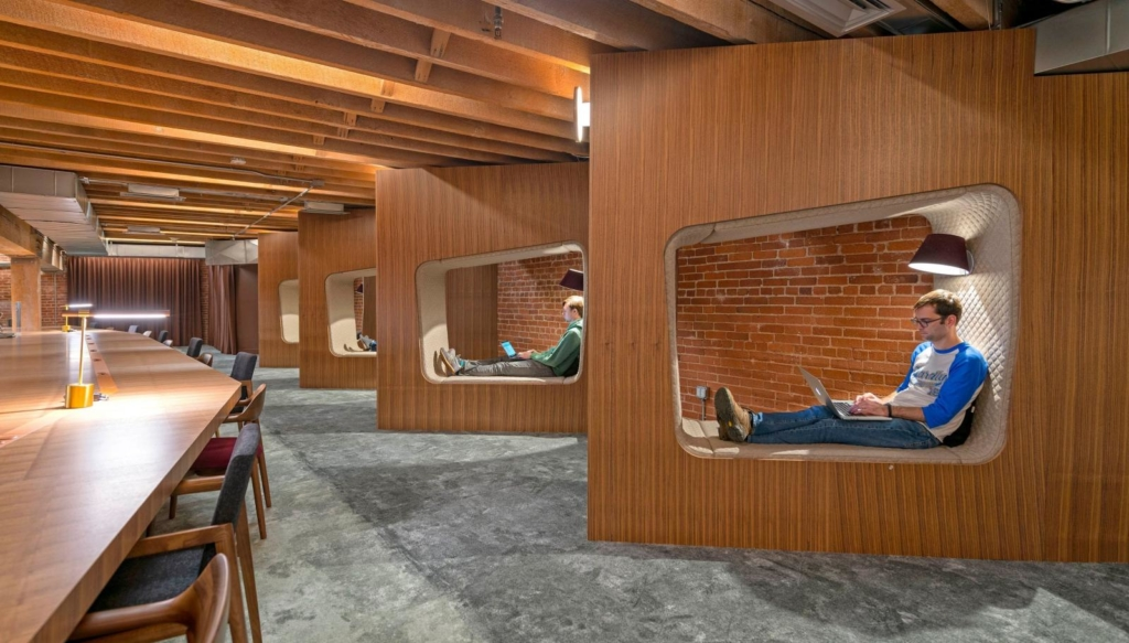 Github's office with private nooks for introverts in the workplace or any type of employee