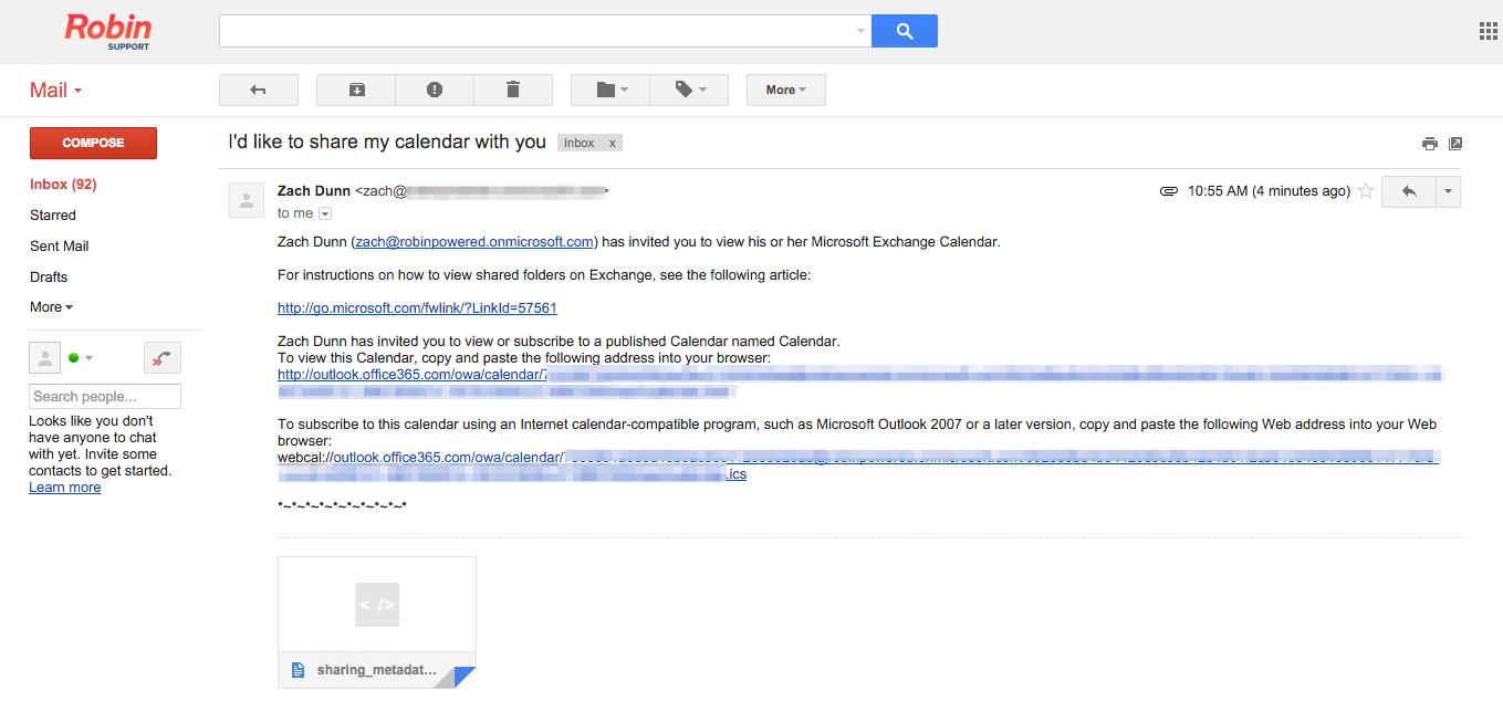 Invite email for shared Office 365 calendar