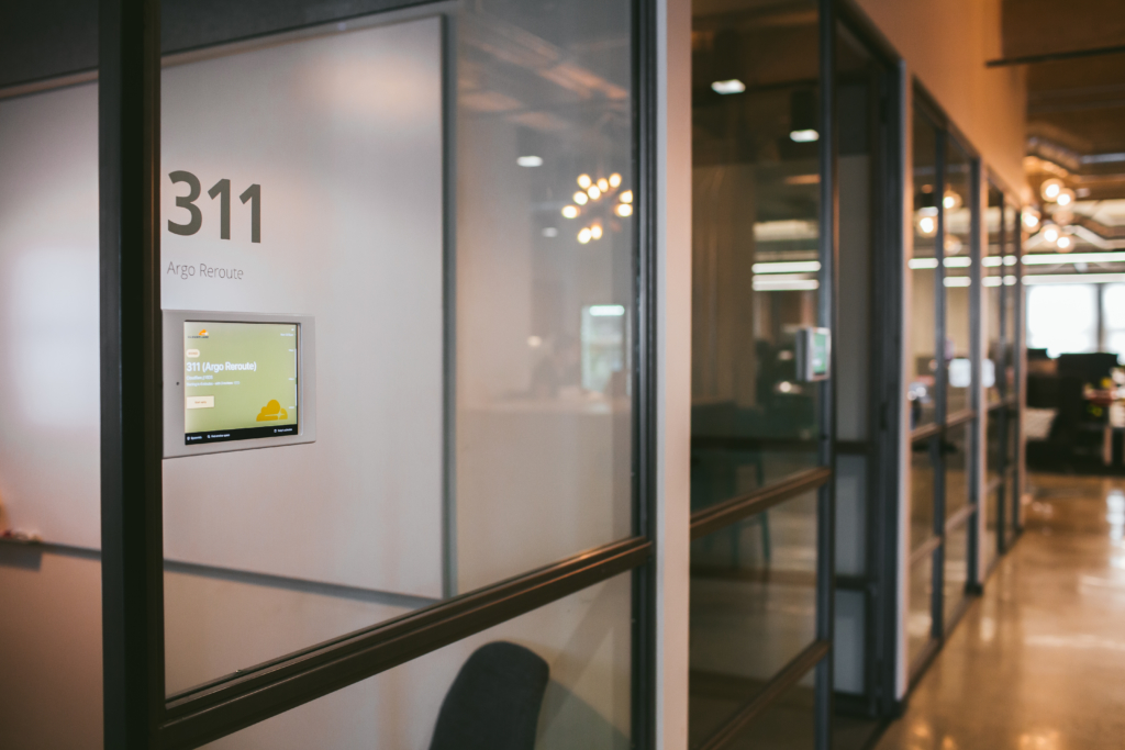 """ADA compliance and regulations require digital room displays outside of conference rooms must be installed between within 27"""" and 80"""""""