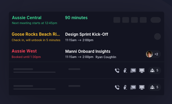 Room availability from the status board