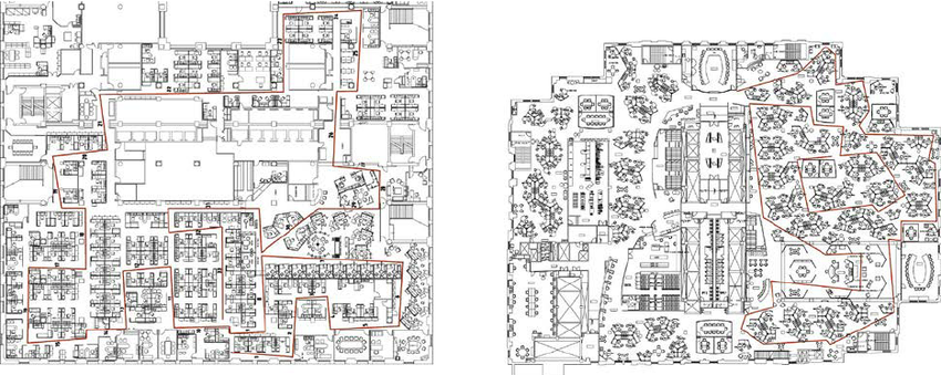 a confusing, outdated office map often taped to the wall in a corner