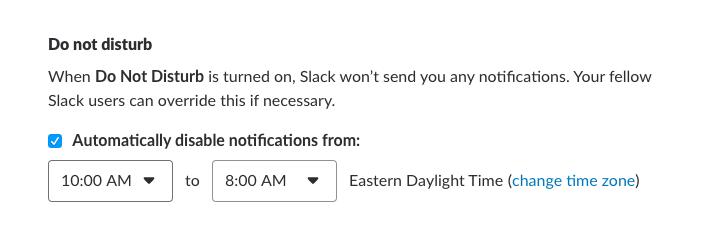 Slack do not disturb schedule vacation time