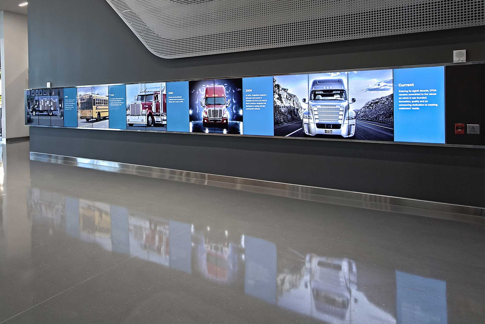 Daimler Trucks North America interactive display office lobby