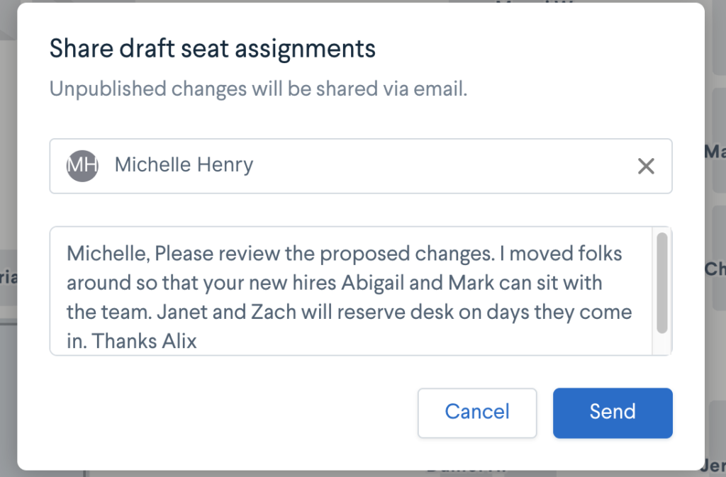 A flexible seating and space management strategy is a team effort. Collaborate with your team and draft and preview changes before publishing.