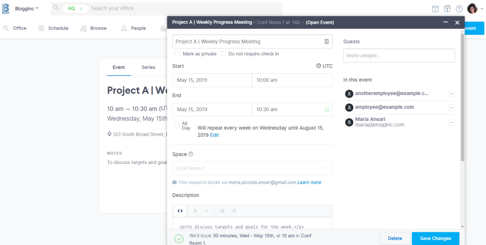 use a conference room scheduling software to schedule recurring meetings