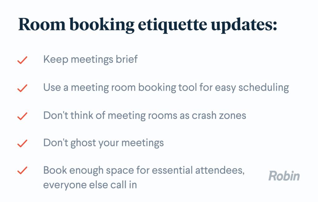 Room booking etiquette checklist