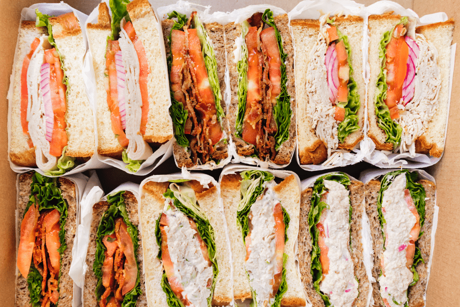 Cater2.me catered lunch example with gourmet sandwiches