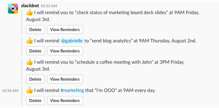 Scheduling vacation time with Slack reminders
