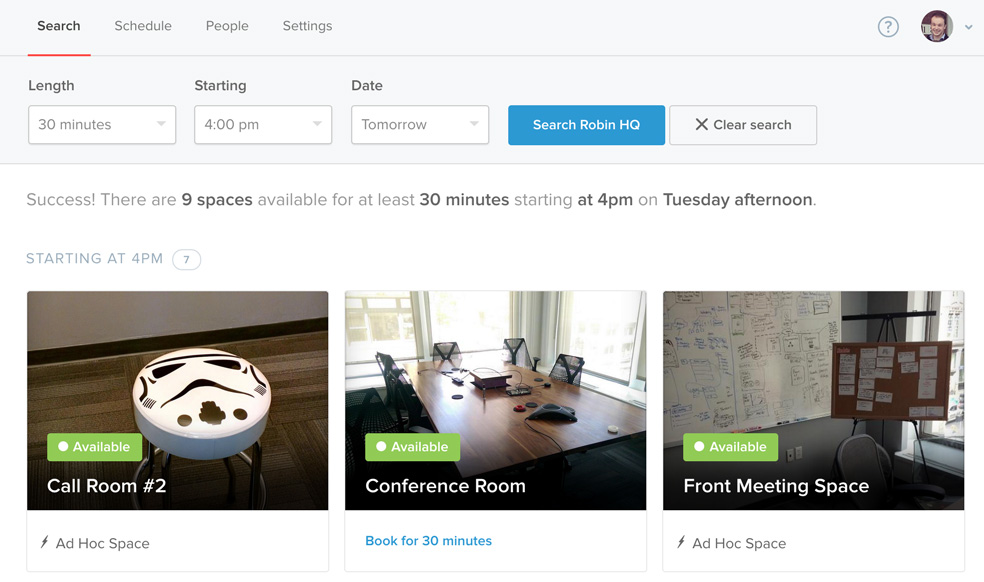 The new room search scheduling tool