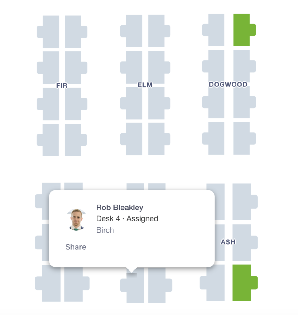 Find and share specific seat assignments with Robin's people finder.