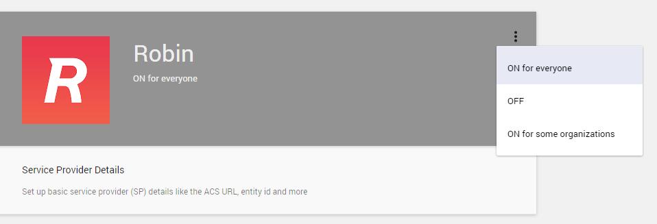 Turn on SAML app in Google