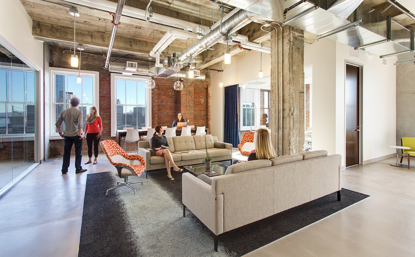 An office lounge area for activity-based working in an open office layout