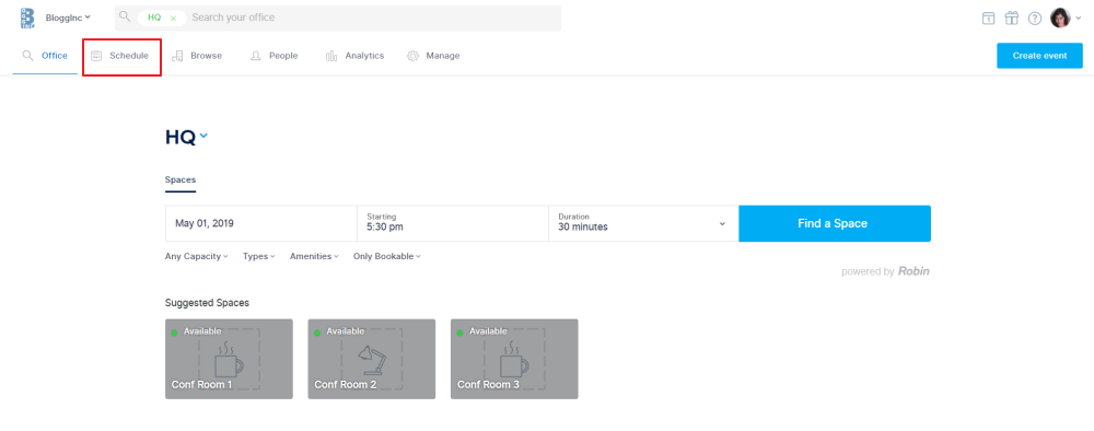 make changes to recurring meetings by navigating to the Schedule tab on the Robin dashboard