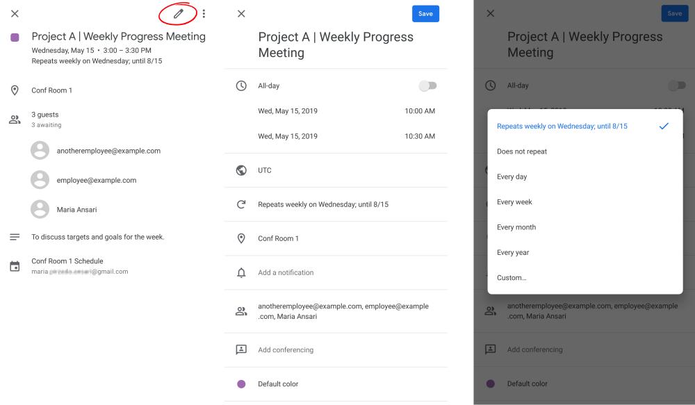 schedule recurring meetings in the Google Calendar App