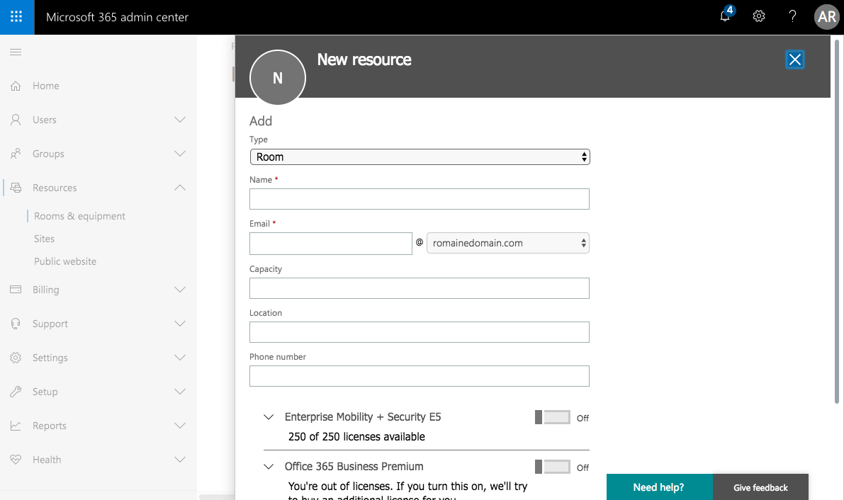 Add a new meeting room to Office 365