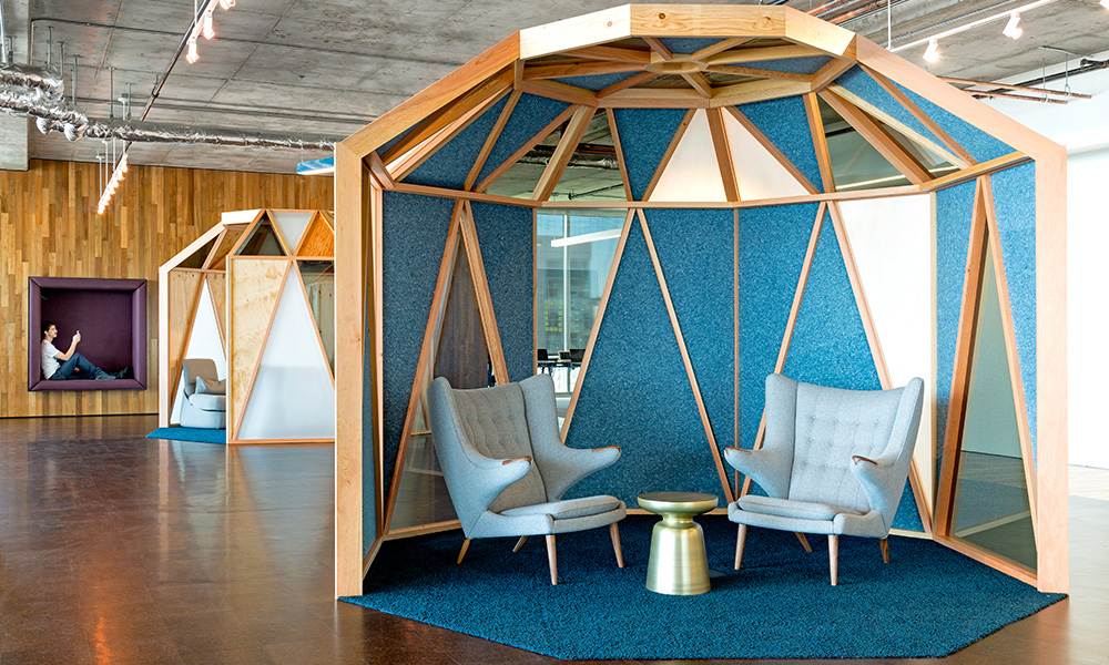 Blue breakout spaces in Cisco's San Franscisco office
