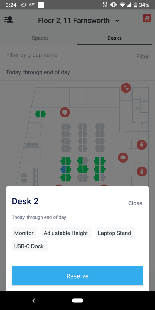reserve a desk on Robin's mobile app directly on the map