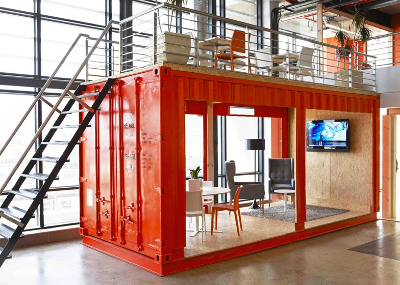 Meeting room inside a shipping container