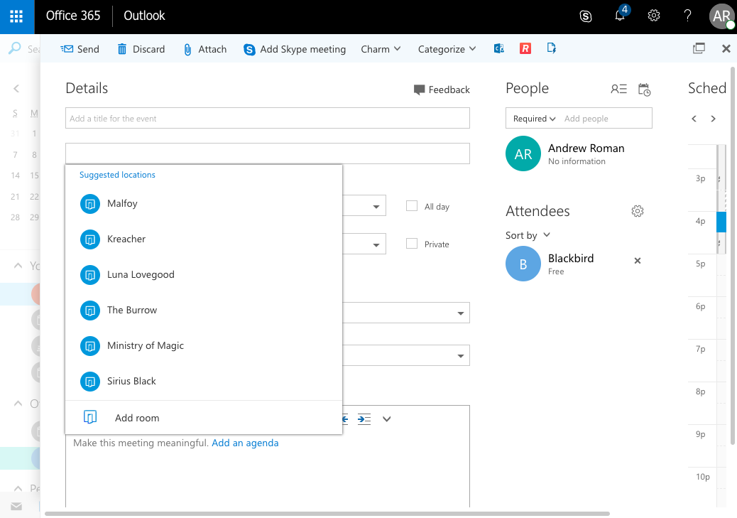 Choose meeting location when scheduling meetings in Office 365
