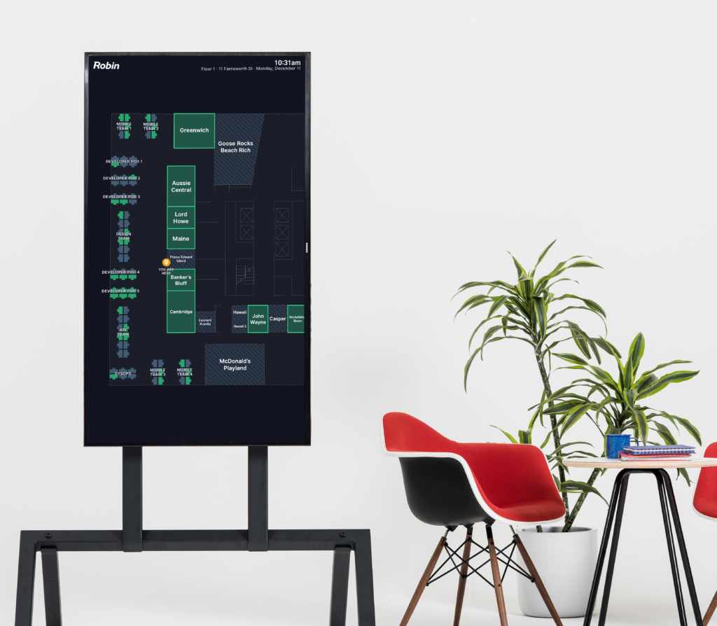 Digital office maps is a modern wayfinding tool to help employees and visitors know where they're going and what's available at a glance
